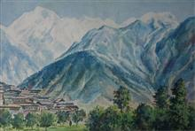 Painting by H C Rai - Himalayan Heights - 1