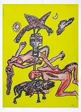 Nautanki, print by Jogen Chowdhury