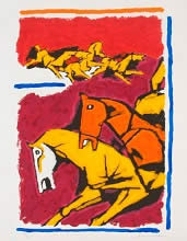 Horse IV, print by M. F. Husain