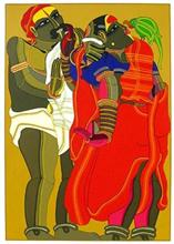 Couple with Parrot, print by Thota Vaikuntam