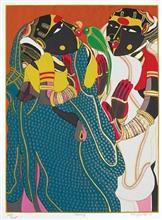 Gossiping, print by Thota Vaikuntam