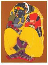 Mother and Child, print by Thota Vaikuntam