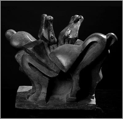 Laxmi and Vishnu as Mare and Horse, Sculpture by Carmel Berkson