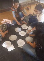Participants working at the workshop Art of Recycling by Gauri Ketkar