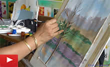 Step by step landscape painting and nature painting demo