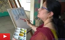 Painting demonstration of Mountain painting