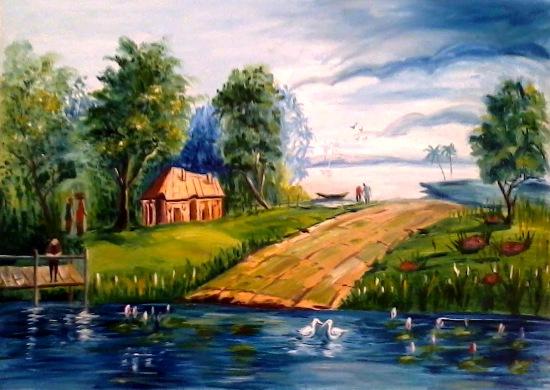 Village Scenery Painting