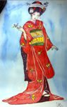 The Red Kimon by Sarabjit Kaur Sadal, Watercolor on Paper, 15 x 9 inches