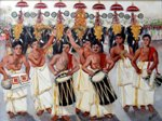 Temple Beats - 1 Ulsavam, painting by Sheela Padmanabhan, Acrylic on Canvas board, 14 x 18 inches