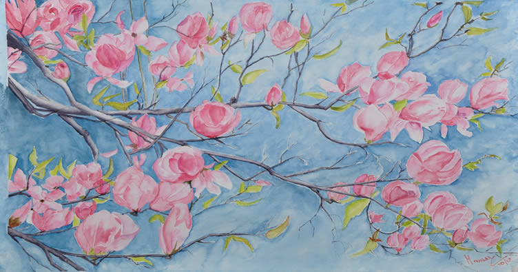Apple Blossoms - Big, Painting by Manju Srivatsa, Watercolour on Paper, 15 x 22 inches
