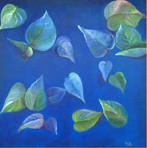 Aqua Leaves, Painting by Rajani Chalasani
