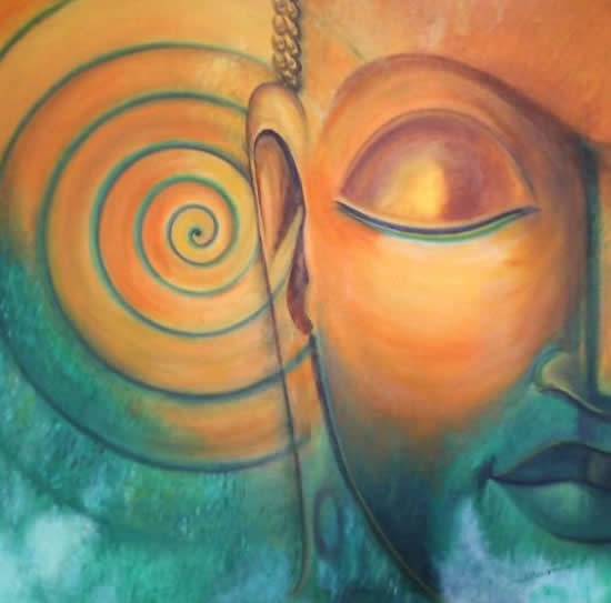 Buddha, Painting by Artist Sharmila, Oil on Canvas , 30 x 30 inches