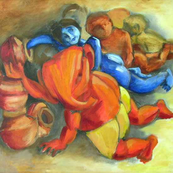Ganesha, Govinda & the Gang, Painting by Artist Milon Mukherjee