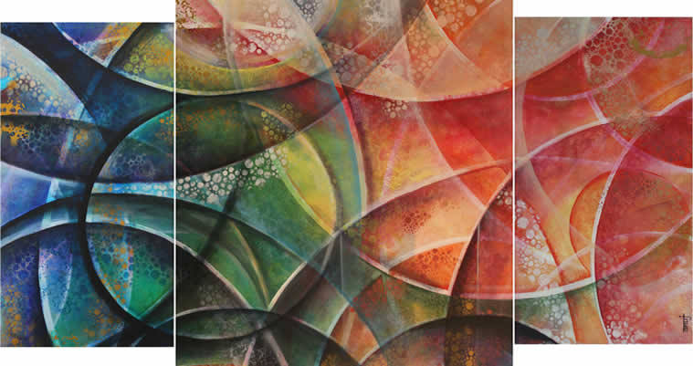 Echelons 1 (3 Panels), Painting by Anuj Malhotra, Mixed medium on canvas, 45 x 72 inches