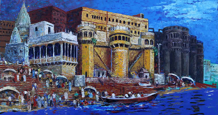 Gangamahal Ghat, Banaras, painting by Nalini Bhagwat, Acrylic on Canvas, 30 x 48 inches