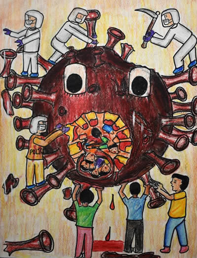 Corona Pandemic awareness painting, Painting by Anjani Mhatre