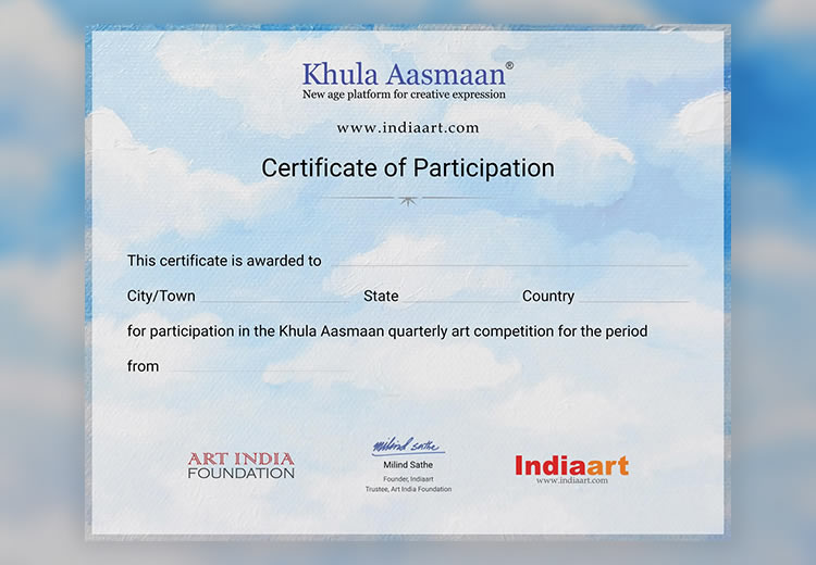 Certificate of Participation for Khula Aasmaan art contests