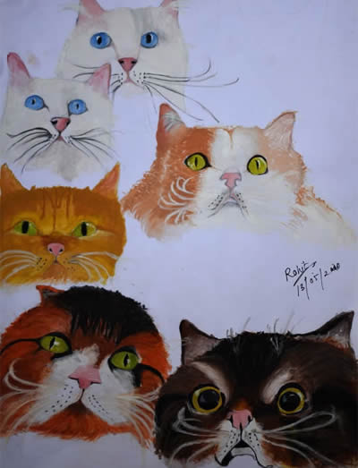 Wonderful Cats, painting by Rohit Nair