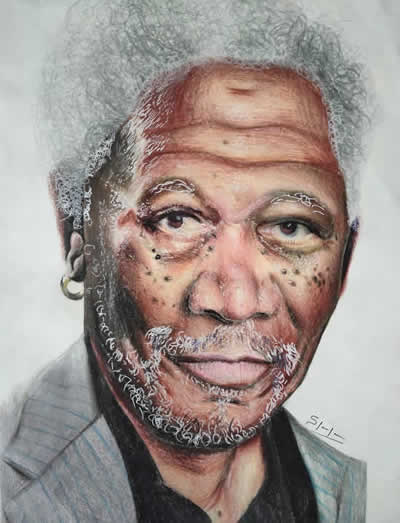 Morgan Freeman, Painting by Shriraj Chavan