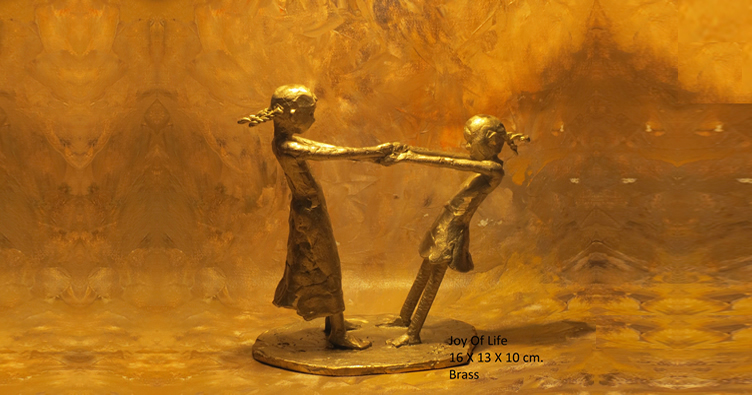 Joy of Life XVI, Sculpture by Mukund Ketkar, Brass, 6.3 x 5.12 x 3.94 inches