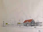 Small town Railway Station - Illustration by Vasant Sarwate
