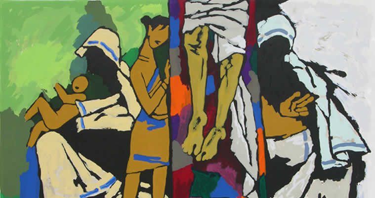 Theorama - Christianity, print by M. F. Husain, Screenprint in 24 colours, 30 x 40 inches