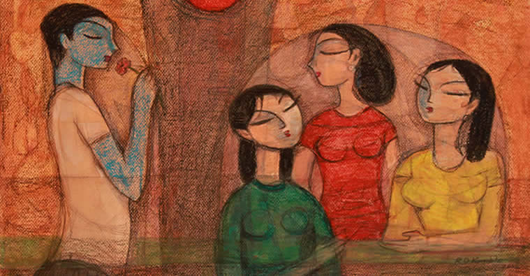 Together, Painting by Ramkrishna Kamble, Mixed Media on Paper, 19 x 27 inches