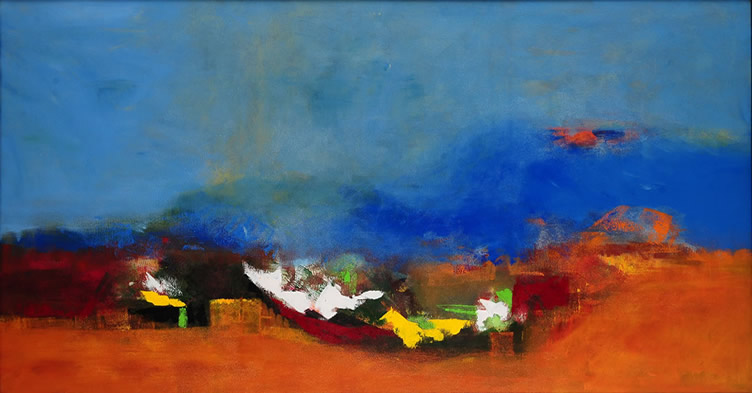 Untitled - IV, Painting by Sadhana Raddi, Acrylic on Canvas, 33 x 60 inches