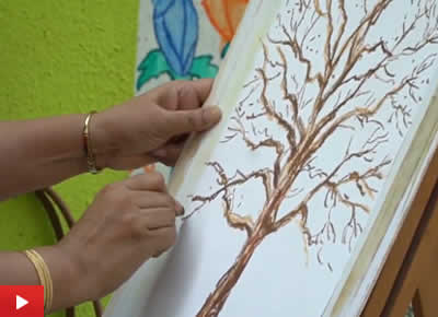 Step by step tree painting demo in oil pastels by artist Chitra Vaidya