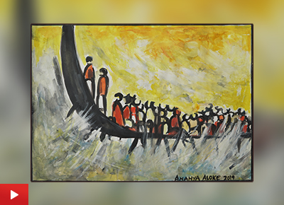 Child artist Ananya Aloke (15 years) talks about her painting Race