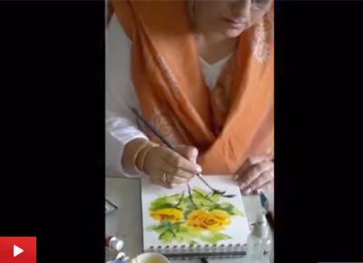 Video of watercolour painting demo - rose flower by artist and art teacher Chitra Vaidya