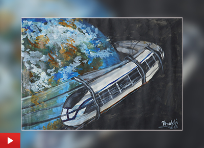 Child artist Bhakti Modale (13 years) talks about her bronze medal winning painting of a Space Train
