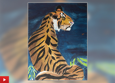 Child artist Arpit Katkhede (11 years) from Pune talks about his painting of a Bengal Tiger