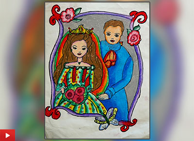 Cute Couple, painting by Aditi Kathuria, Class 4, Euro School, Airoli, Navi Mumbai