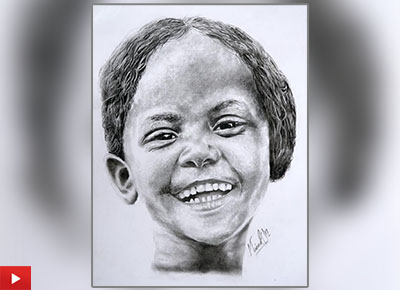 Smile in her beauty, painting by Mainak Deb got a gold medal in art contest by Khula Aasmaan