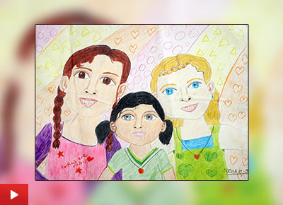 Girls are fancy, painting by Neha Mary Jacob (10 years) from Bishop Cotton Girls School, Bangalore