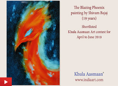 The Blazing Phoenix, painting by Shivam Bajaj, Guru Nanak Dev University, Amritsar, Punjab