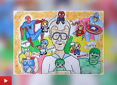 Mr. Stan Lee, painting by Surbhi Nagar, class 9, GBN Sr Secondary School, Faridabad, Haryana