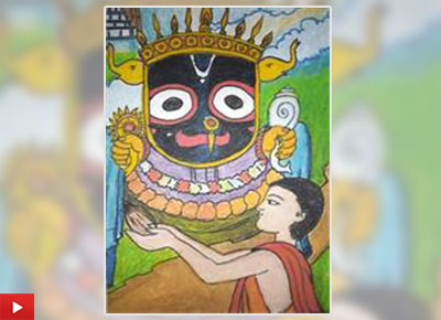 Lord Jagannath painting by Bhaiya Shreyansh Sinha from D.A.V. Public School, Jharsuguda, Odisha