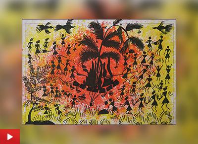 Holi painting by Asmita Bhoye (class 8), Varwada ashramshala