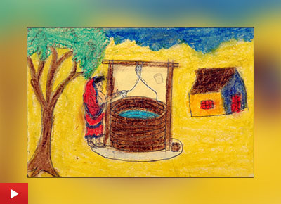 Rural Life with well painting by Rutika Dhinde