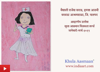 Nurse painting in oil pastels by child artist Vaishali Kharad (class 8)
