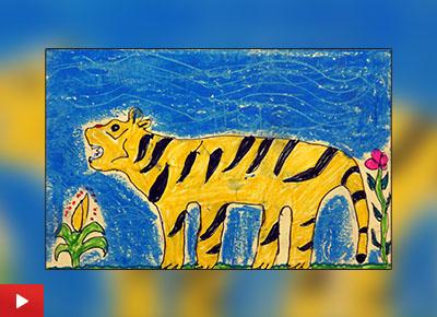 Tiger painting by Pankaj Medha (class 6) from Khambale ashramshala, Dist. palghar
