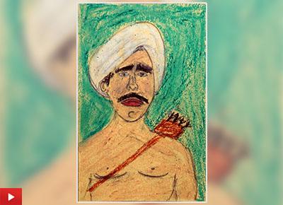 Painting of Birsa Munda by Vinod Tumbada (class 8)