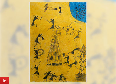 Warli painting of Holi festival by Vilas Sapte
