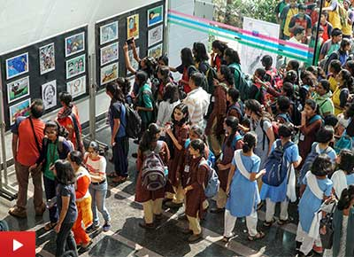 Art exhibition of children's art by Khula Aasmaan at IISER Pune