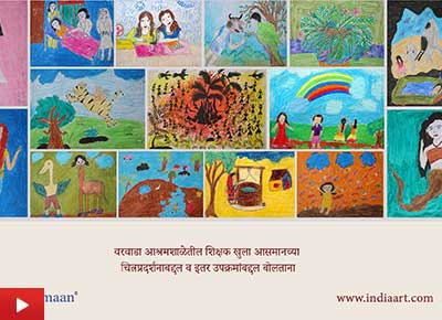 Teachers at Varwada ashramshala talk about art exhibition & painting workshops by Khula Aasmaan - 1