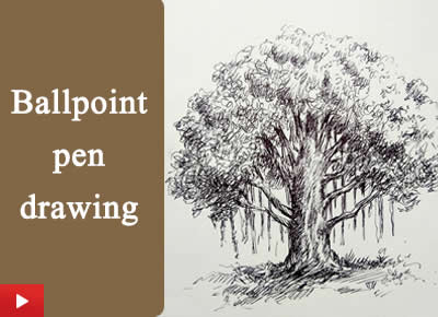 How to draw a banyan tree with ballpen