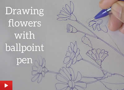 Drawing flowers with ballpoint pen