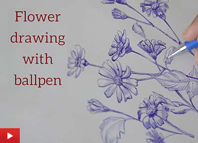 Flower drawing with ballpen or ballpoint pen